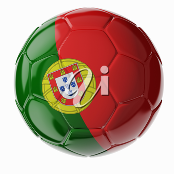 Football/soccer ball with flag of Portugal 3D render