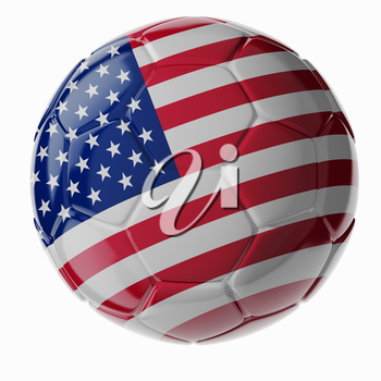 Football/soccer ball with flag of United States. 3D render