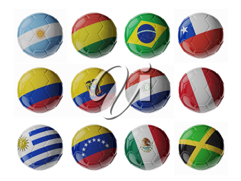 Set of 3d soccer balls with flags.
