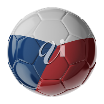 Football/soccer ball with flag of Czech Republic. 3D render