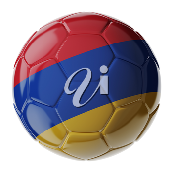 Football soccer ball with flag of Armenia. 3D render