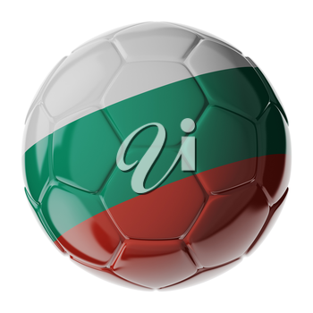 Football soccer ball with flag of Bulgaria. 3D render