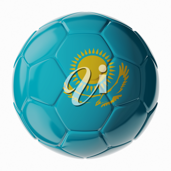 Football soccer ball with flag of Kazakhstan. 3D render