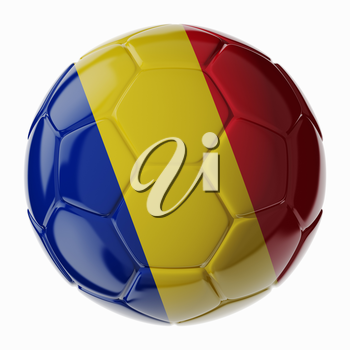 Football soccer ball with flag of Romania. 3D render