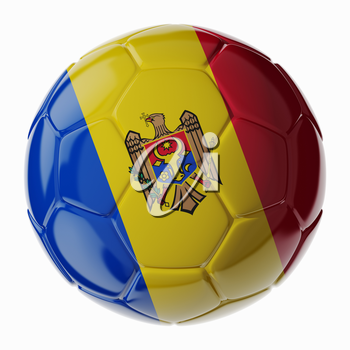 Football soccer ball with flag of Moldova. 3D render