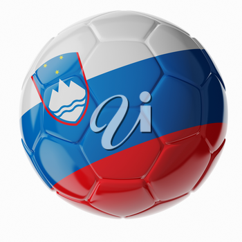 Football soccer ball with flag of Slovenia. 3D render