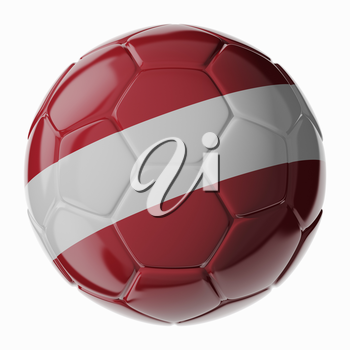 Football soccer ball with flag of Latvia. 3D render