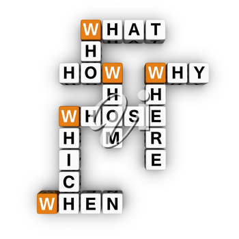 all question words crossword  (3D crossword orange series)