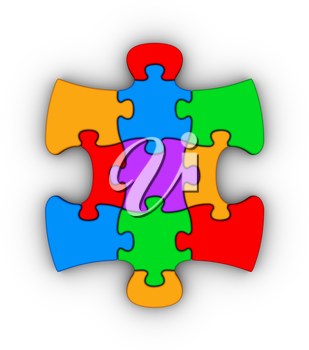 colorful jigsaw piece on white background