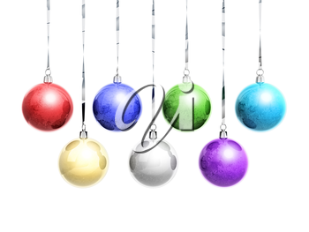 Set of frozen colorful Christmas balls with frost hanging on ribbons isolated on white