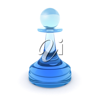 Classical chess pawn made of blue glass. 3d render illustration isolated on white background
