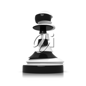 Sliced black and white pawn isolated on white. Treason and duplicity concept illustration