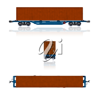 3d render illustration isolated on white: Projections of the modern container carriage