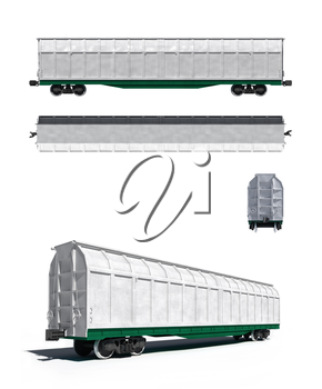 3d render illustration isolated on white: Projections and perspective view of the modern white universal carriage