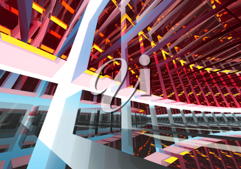 Abstract geometric colorful background pattern of turning futuristic tunnel with lights and reflections. 3d render illustration.