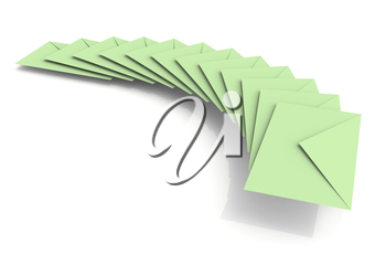 Batch of light green envelopes on white background with soft shadow