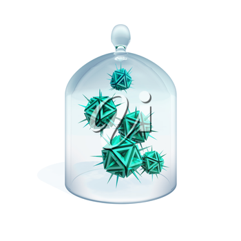 Abstract illustration of a viruses in quarantine as a green danger sharp objects with spikes under cover made of glass
