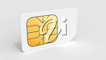 White Sim card on light gray background with soft shadow. 3d render illustration.