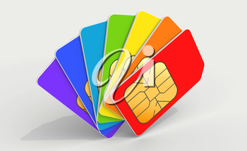 Colorful phone SIM cards in a deck above light gray background. 3d render illustration