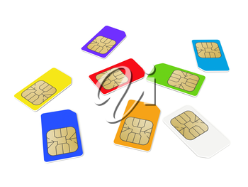 Colorful phone SIM cards isolated on white background. 3d render illustration