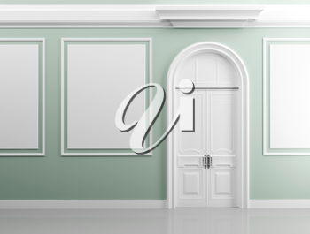 Classical architecture style interior background texture. Light green walls with white design elements and door