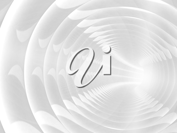 Abstract background with white bent spiral tunnel. 3d illustration