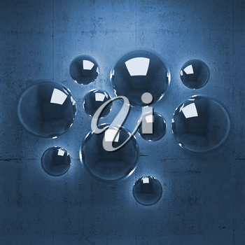Abstract 3d background with shining spheres on blue concrete wall