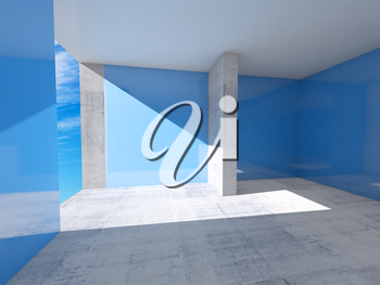 Abstract empty room interior with blue walls and concrete floor