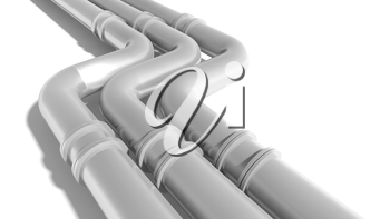 Modern industrial metal pipeline on white background