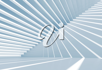 Abstract empty blue 3d interior background with staircase