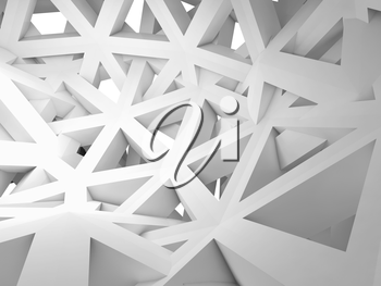 Abstract 3d background with chaotic white triangle wire construction