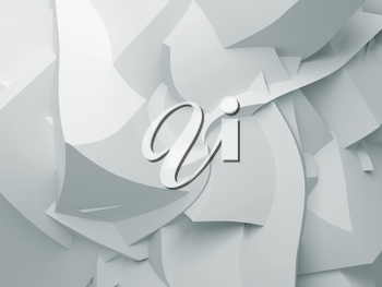 Abstract white digital 3d chaotic polygonal surface with swirl effect, background texture