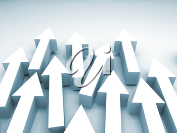 Abstract 3d illustration with white arrows and blue shadows