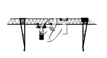 Container bridge gantry crane. Black silhouette isolated on white background. Render of 3d model. Front view