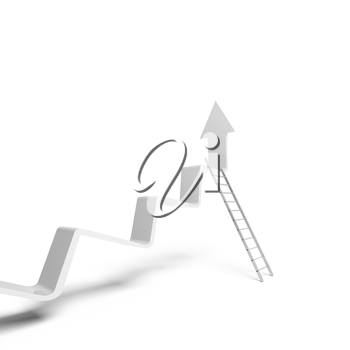 Broken trend line going up, metal ladder stands leaning. 3d illustration isolated on white background