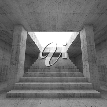 Abstract empty dark concrete interior background with columns and the stairway going up to the light,  3d render illustration