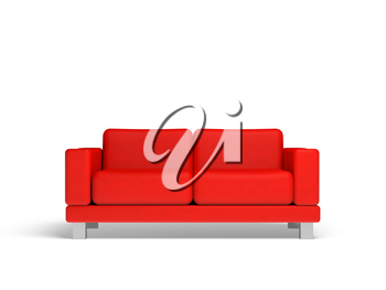 Red sofa isolated on white empty interior background, 3d illustration, front view