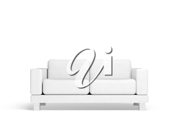 Sofa isolated on white empty interior background, 3d illustration, front view