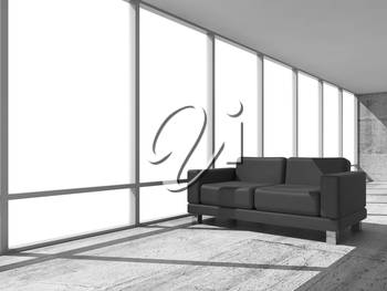 Abstract interior, office room with concrete floor, white window and black leather sofa, 3d illustration