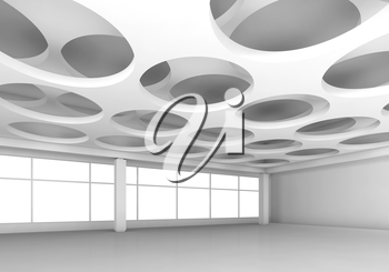 Empty white interior background with round holes pattern on ceiling, 3d illustration