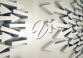 Abstract 3d illustration with groups of white arrows going towards each other