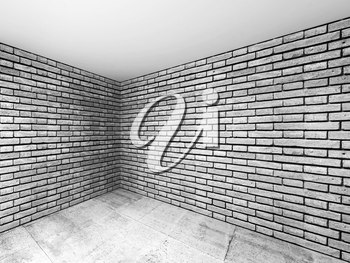 Empty room interior with gray brick walls and concrete floor, 3d illustration with perspective effect