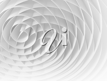 White intersected 3d spirals, abstract digital illustration, background pattern