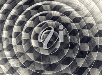 Abstract monochrome retro stylized background with spiral over cubic pattern and old paper texture