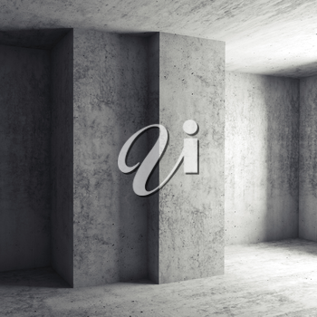 Abstract square architectural background, empty room with concrete walls. 3d illustration