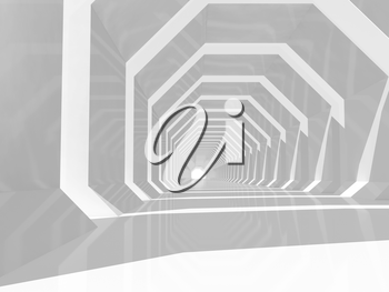 Abstract computer graphic background. Empty white tunnel perspective, 3d illustration