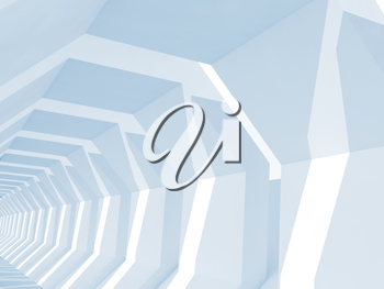 Abstract blue toned digital background, empty white tunnel perspective, 3d render illustration