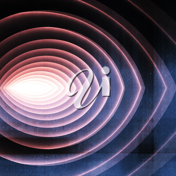 Abstract digital graphc background, colorful tunnel with glowing end, 3d illustration