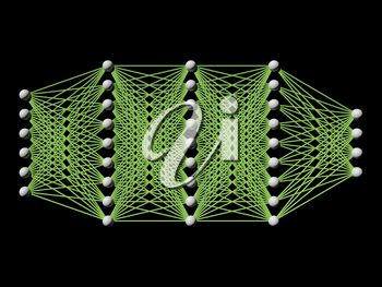 Artificial deep neural network, schematic model isolated on black, frontal view, 3d render