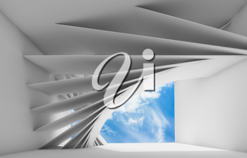 Abstract white empty interior with geometric installation and blue cloudy sky in empty window opening. 3d render illustration